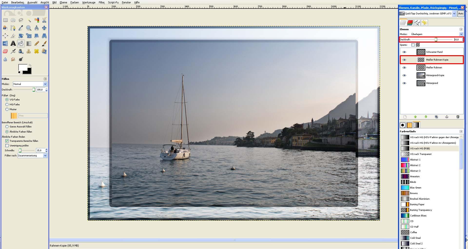 tutorial durchsichtigen fotorahmen mit gimp erstellen. Black Bedroom Furniture Sets. Home Design Ideas
