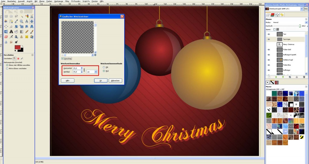 tutorial weihnachtskarte in gimp erstellen saxoprint blog. Black Bedroom Furniture Sets. Home Design Ideas