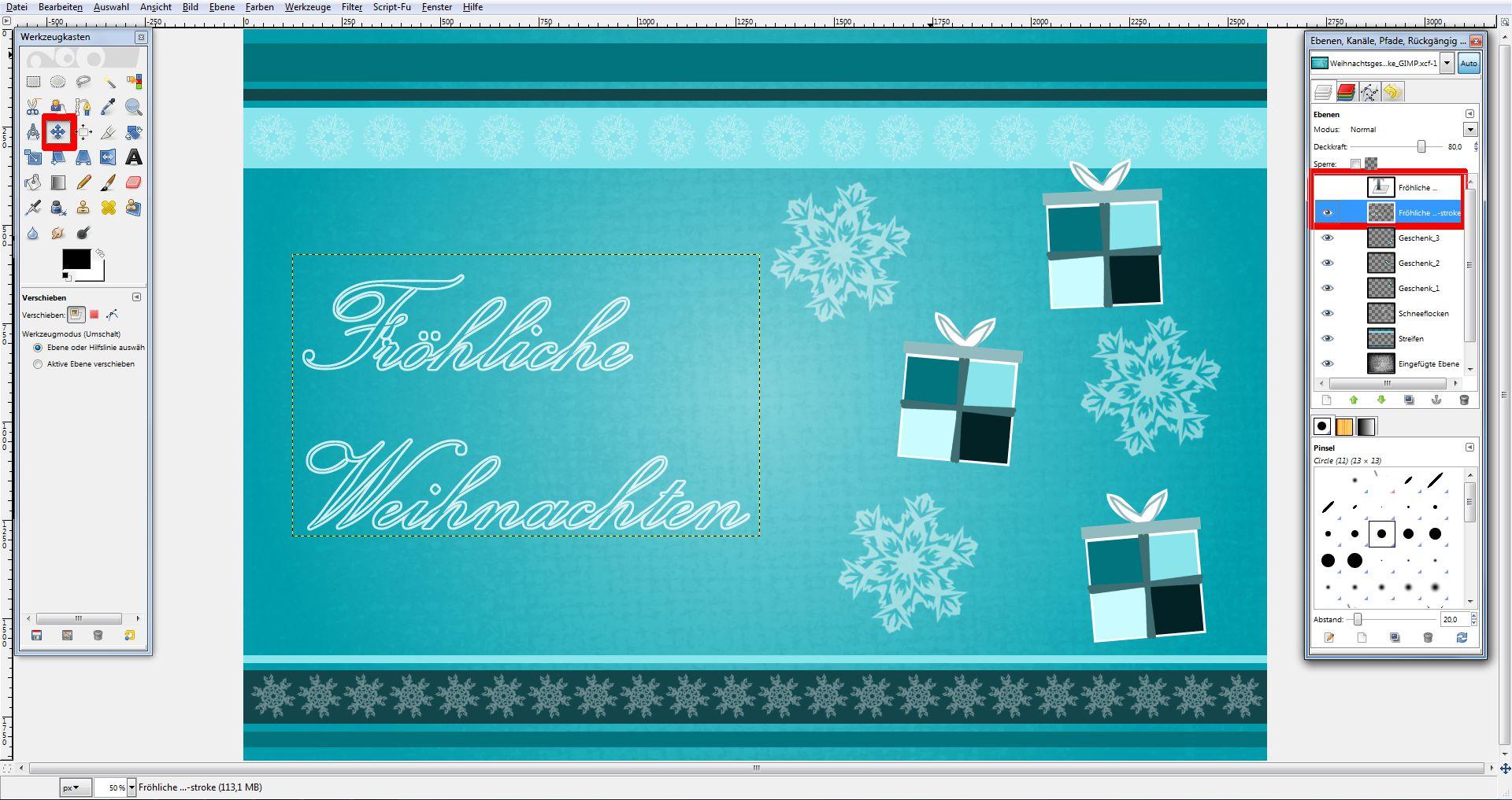 tutorial weihnachtskarte in gimp saxoprint blog. Black Bedroom Furniture Sets. Home Design Ideas