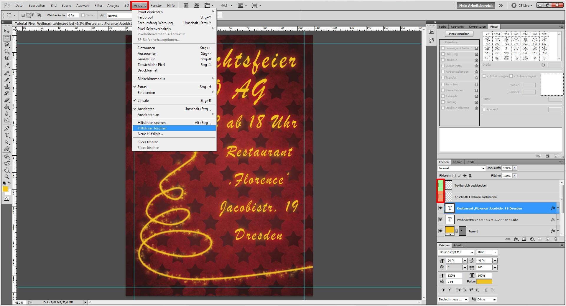 tutorial flyer f r die weihnachtsfeier gestalten. Black Bedroom Furniture Sets. Home Design Ideas