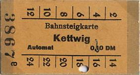 Bahnsteigkarte Kettwig