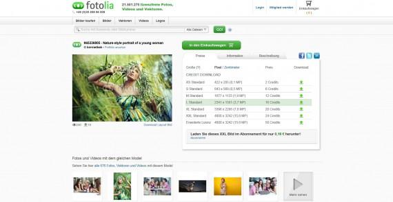 Informationen zur Fotolia Bilddatenbank