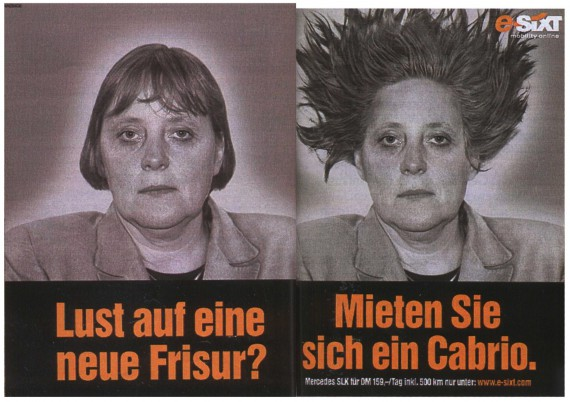 Werbung Sixt Plakat (Angela Merkel)