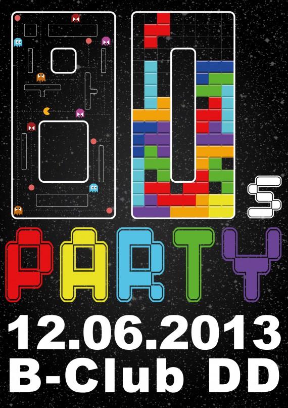80er Party-Plakat gestalten fertig