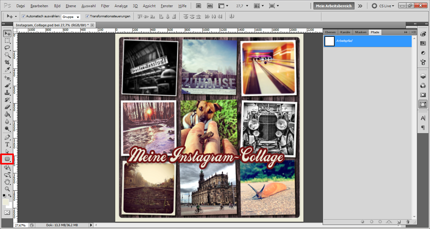 Tutorial: Collage mit Instagram-Effekt in Photoshop gestalten