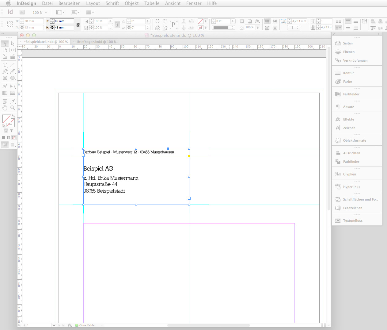 briefbogen im indesign cs6 erstellen step 3 - Briefbogen Muster