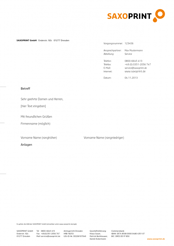 Briefpapier Design am Beispiel von SAXOPRINT