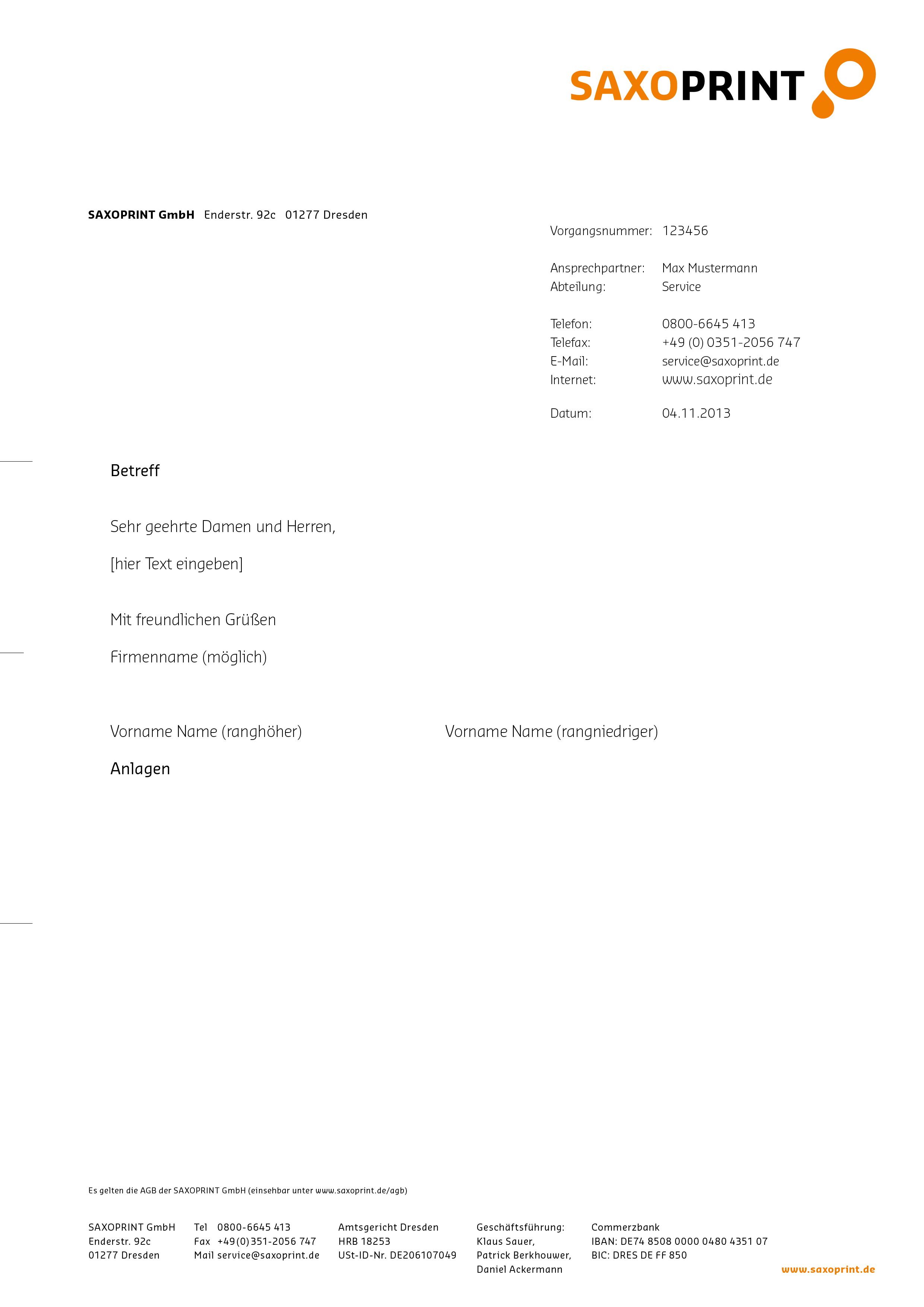 Briefpapier Nach Din Norm 5008 Gestalten Saxoprint
