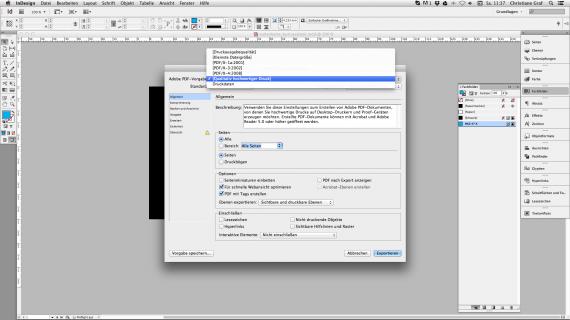 Visitenkarten gestalten mit InDesign: Exportprofil aussuchen