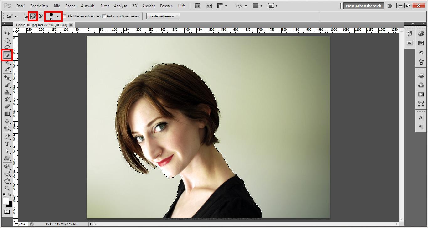 Photoshop haare freistellen kante verbessern