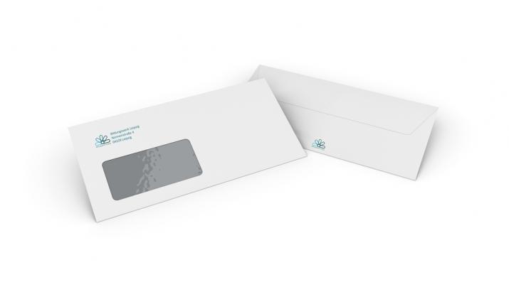 DIN lang Umschlag Gestaltung mit Logo (Ergebnis)
