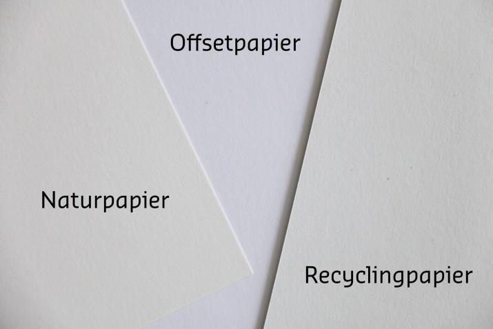 Naturpapier, Offsetpapier und Recyclingpapier im Vergleich