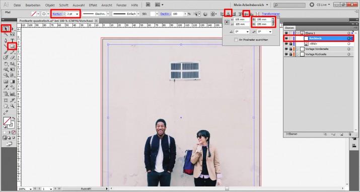 Schicke Postkarte im Quadrat erstellen (2)