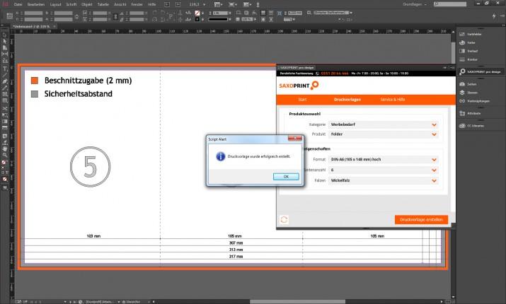 Generierung der Druckvorlage in SAXOPRINT pro design