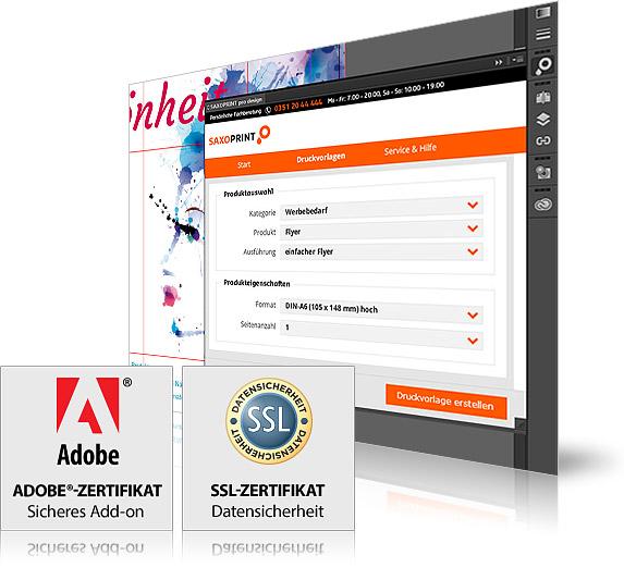 Saxoprint pro design ist Adobe und SSL zertifiziert