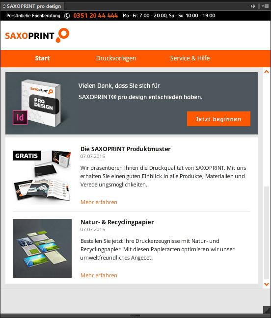 Startbereich von SAXOPRINT pro design