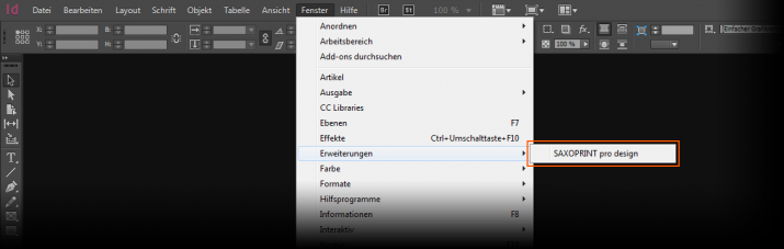 Start von SAXOPRINT pro design in Adobe InDesign