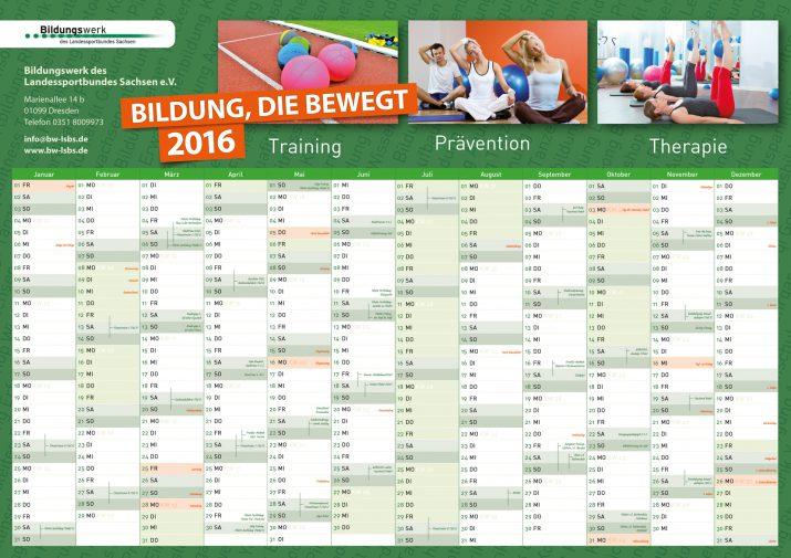 Jahreskalender vom Bildungswerk des Landessportbundes Sachsen