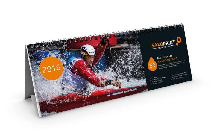 Tischkalender von SAXOPRINT mit Sportmomenten und Gutscheincode